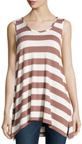 Chelsea & Theodore Striped Scoopneck Tank, Brown/Ivory