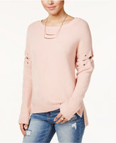 Almost Famous Junior's Lace-Up High-Low Sweater