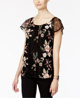 INC International Concepts Petite Embroidered Lace Top, Only at Macy's