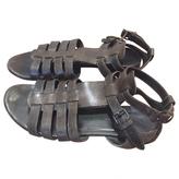 Balenciaga Khaki Leather Sandals