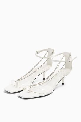 Topshop RUSH White Chain Mini Heels