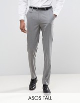 Asos Tall Skinny Smart Trousers In Grey