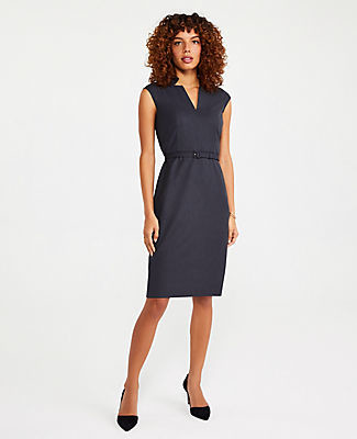 Ann Taylor The Petite Belted Notched Collar Dress in Tropical Wool