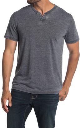 Lucky Brand Short Sleeve Burnout 2 Button Henley T-Shirt