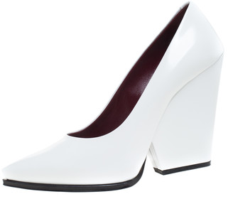 Celine White Leather Demi Pointed Toe Wedges Pumps Size 38.5