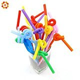 UltimaFio(TM) 100PCS Mixed Colours Flexible Plastic Bendy Party Disposable Drinking Straws For Kids Birthday Wedding Decoration Event Supplies