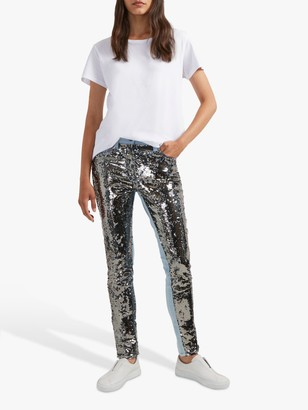 French Connection May Sequin Jeans, Vintage Blue/Gunmetal