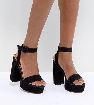 Asos Design DESIGN Hostess platform block heeled sandals-Black