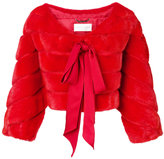 Alberta Ferretti cropped jacket - women - Acetate/Viscose/Lamb Fur - 42
