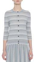 Bottega Veneta Knit Striped 3/4-Sleeve Cardigan, Blue/White