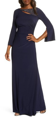 Vince Camuto Split Long Sleeve Trumpet Gown