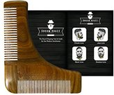 Groom Houzz - Sandalwood Beard Shaping Tool & Comb - Symmetric Beard Styling Template Grooming Kit Guide for Men - Facial Hair Trimmer for Jaw Line, Cheek, Neck & Goatee - Perfect Razor Trimming Lines