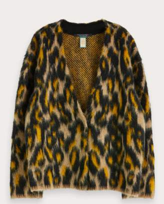 Scotch & Soda Wool Blend Animal Print Cardigan - small