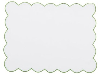 Angela Wickstead - Set Of Four Scalloped-edge Linen Placemats - White Multi