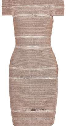 Herve Leger Off-the-shoulder Metallic Bandage Mini Dress