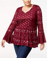 Style&Co. Style & Co Plus Size Mixed-Print Babydoll Top, Created for Macy's