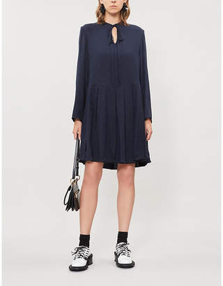 Valentino Logo-pattern pleated silk-crepe mini dress