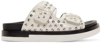 Alexander McQueen White Leather Studded Sandals