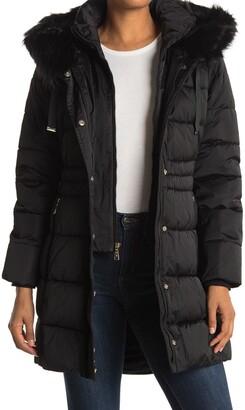Tahari Faux Fur Trim Hooded Bib Zip Puffer Jacket