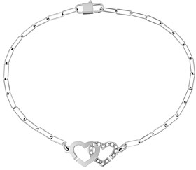 Dinh Van 18K White Gold Double Coeurs Chain Bracelet with Diamonds