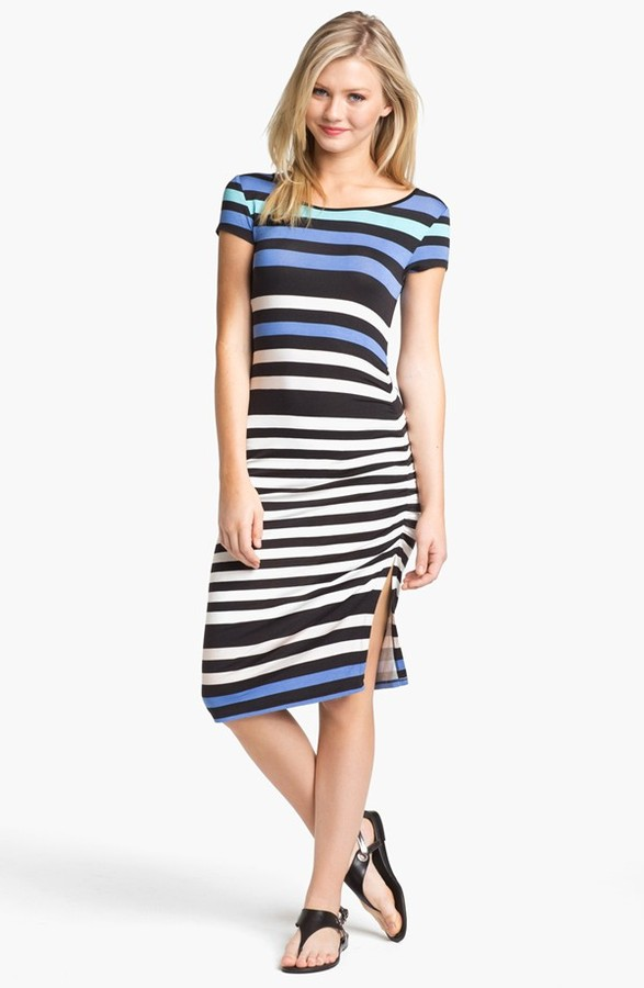 Nordstrom FELICITY & COCO Stripe Shirred Jersey T-Shirt Dress Exclusive)