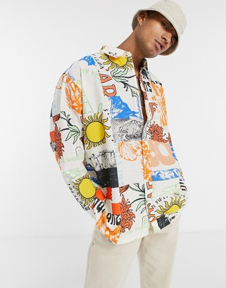 ASOS DESIGN oversize wide shirt in linen look with scenic summer panel print