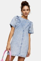 Topshop Acid Wash Denim Chuck On Dress