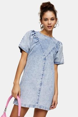 Topshop Acid Wash Denim Chuck On Dress