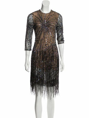 Naeem Khan 2018 Embellished Dress Brown