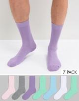 Asos Socks In Pastel Colors 7 Pack
