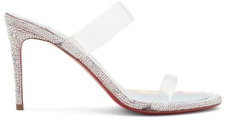 Christian Louboutin Just Strass 85 Crystal-embellished Leather Mules - Silver Multi