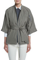 Brunello Cucinelli 3/4-Sleeve Taffeta Cape Jacket