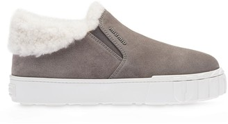 Miu Miu Shearling-Lined Slip-On Sneakers