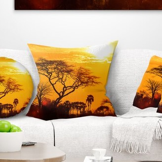 East Urban Home Landscape Glow of African Sunset Pillow East Urban Home