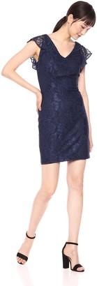 Kensie Dress Women's Floral Scroll LACE Cap Sleeve Dress