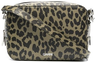 Ganni Leopard Print Recycled Leather Camera Bag