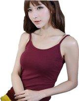 Amoy madrola Women's 100% Cotton Basic Cami Tank Top Set of 2 T-shirt TT219-2P-Gray-L