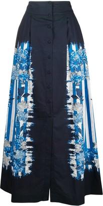 Alberta Ferretti Floral-Print Pleat-Detail Full Skirt