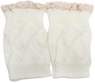 Bodhi2000 Womens Girls Knitted Lace Trim Leg Warmers Toppers Cuffs Boot Socks