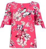 Wallis Petite Pink Butterfly and Floral Print Tie Sleeve Top