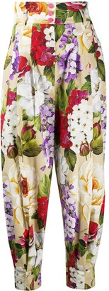 Dolce & Gabbana Floral Print Tapered Trousers