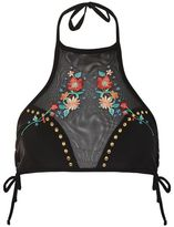 Topshop Embroidered mesh bikini crop top