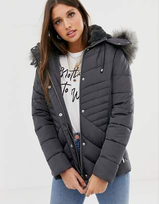 New Look fitted puffer jacket in grey