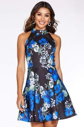 Quiz Black and Blue Floral Print High Neck Skater Dress