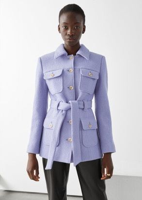 And other stories Belted Button Up Wool Jacket