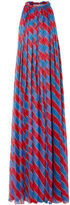 Philosophy di Lorenzo Serafini Pleated Striped Silk-chiffon Gown