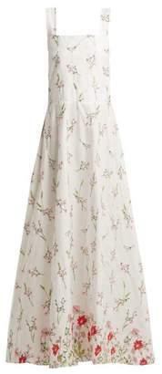 Gioia Bini Lucinda Floral-embroidered Cotton-blend Dress - Womens - White Multi