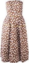 Talbot Runhof patterned bandeau dress