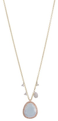 Meira T 14K Yellow Gold Blue Opal Pendant & Floating Diamond Necklace