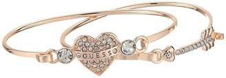 GUESS Duo Tension Bangle Set with Heart and Arrow (Rose Gold) Bracelet